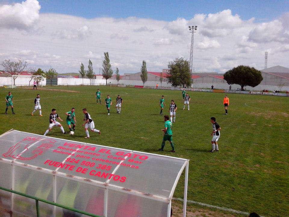 Imagen del último encuentro de la UD Badajoz en Fuente de Cantos. Foto: Facebook Badajoz Club de Fútbol.