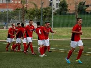 Los jugadores del Emérita celebrando un gol esta temporada.