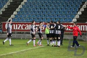 El CD Badajoz celebra uno de los goles.